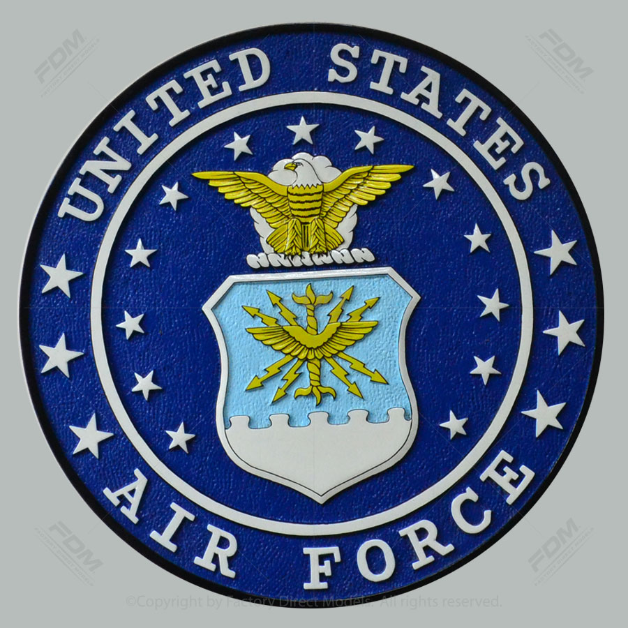 """USAF Yellow Eagle 14"""" Wooden Wall Plaque"""